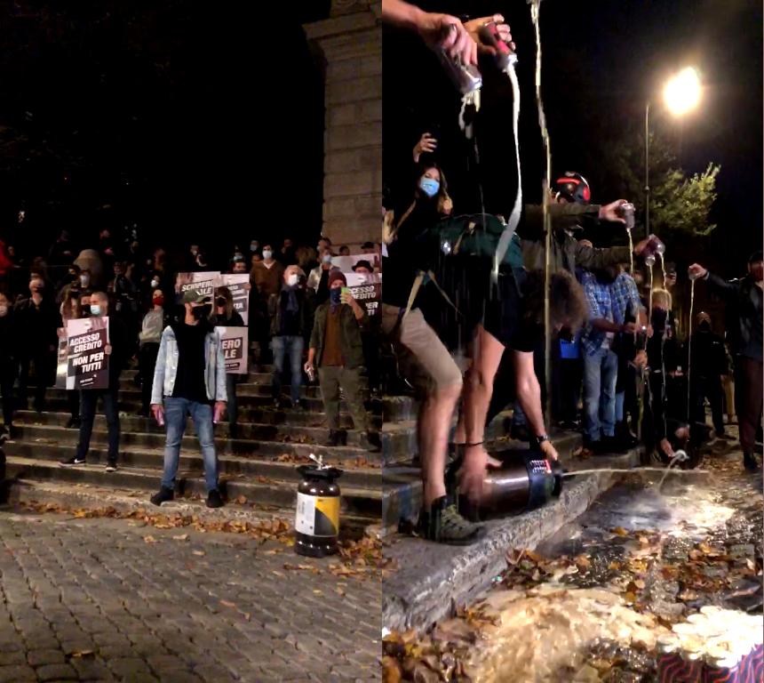 birra sversata in piazza Trilussa a Trastevere