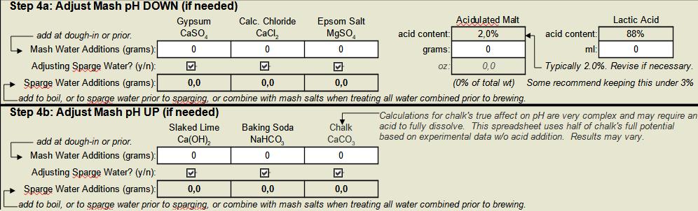 Step 4a e 4b EZ water calculator