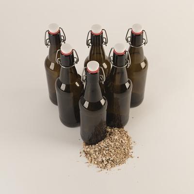 bottiglie di birra con cereali prima dello stile American Wheat Ale